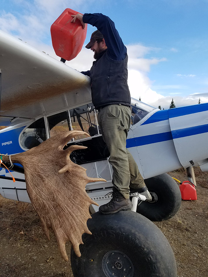 fueling up the plane